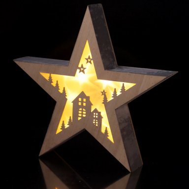 Ster met verlichting kerstdorp - Leni Webshop